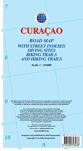 Curacao : Road Map with Street Indexes, Diving Sites, Biking Trails, and Hiking Trails