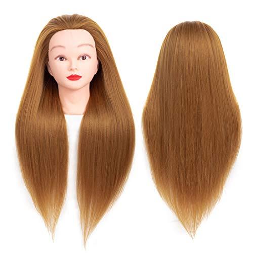 (Yebo Mannequin Head 24 Inch,Training Practice Head Yaki Cosmetology Styling Doll Heads Practice for Kanekalon Hair Training Model(Gold))