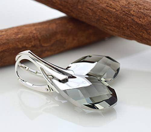 Beforya Paris** Meadows Breath Argent 925 Parure de bijoux en argent 925 Couleur Black Diamond Bijoux pour femme avec cha/îne en argent Swarovski Elements