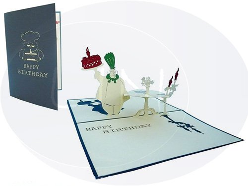 LIN Pop Up 3D Greeting Card for a Birthday, Cook with Birthday Cake, (#11)