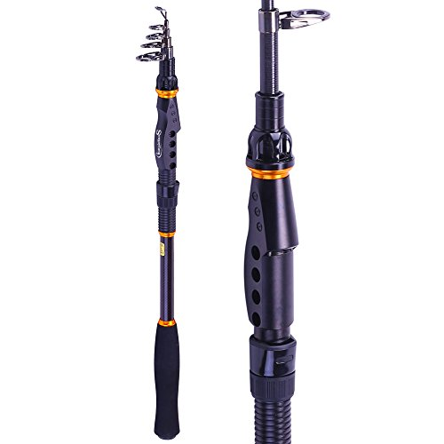 Sougayilang Fishing Rod - 24 Ton Carbon Fiber, Portable Telescopic Super Hard Ultralight Fishing Pole for Travel Surf Saltwater Freshwater Bass Boat - Travel Trout Rod