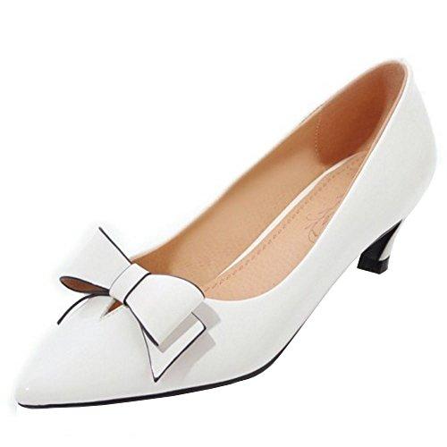 Fashion Court Small Heel TAOFFEN Women White Bowknot Shoes 5wxvURUq