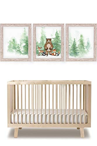 Katie Doodle Woodland Nursery Decor for Boys Girl | Super Cute Boho Nursery Wall Art Decor or Woodland Baby Shower Decorations | Includes Set of 3 Prints [Unframed]