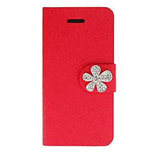 Shimmering Silk Print PU caso completo del cuerpo con el botón Babysbreath Diamond y ranura para tarjeta para iPhone 5C (colores surtidos) , Color Plata