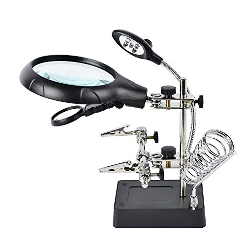 Dandelion 2.5X 7.5X 10X LED Light Helping Hands Magnifier Station,Magnifying Glass Stand with Clamp and Alligator Clips
