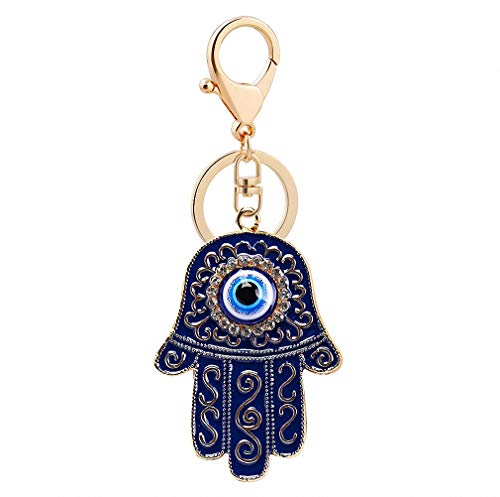 Womens Mens Hand Evil Eye Lucky Charm Amulet Hamsa Hand Keychains Bag Pendant Keychains Key Ring Key Holder for Women Girls Silver