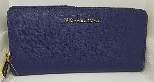 Michael Kors Jet Set Travel ZA Continental Leather Zip Around Wallet, Blueberry