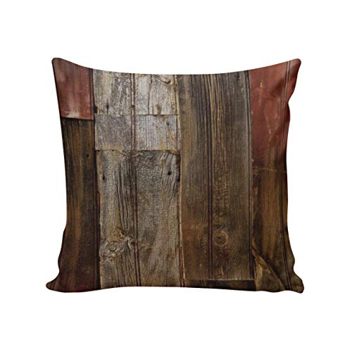 (CirCleO Square Pillow Rustic Old Barn Wood Decorative Throw Pillow Covers Cotton Linen Square Cushion Cover Outdoor Sofa Home Pillow Covers 16