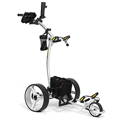 Bat-Caddy X4 Sport Electric Push Cart w Free Accessory Kit, 35Ah, Silver