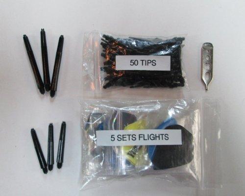 Dart Brokers STANDARD Soft Tip Darts Accessory Kit flights tips shafts halex case