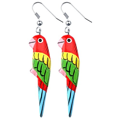 Drop Earring Hand Carved & Painted Parrot (Red) Made With Wood by JOE (Collection Red Painted Wood)