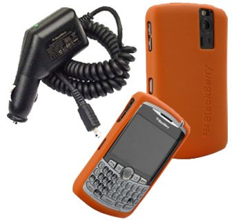 Rubberized Blackberry Curve (Orange Silicone Skin Cover Case and Car Charger for Blackberry Curve 8300 8310 8330 8320)