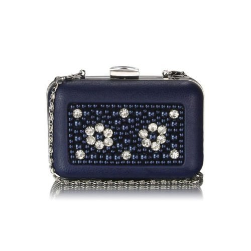 TrendStar - Cartera de mano para mujer Small azul - Navy Box Clutch