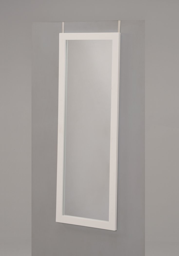 White Finish Wooden Cheval Bedroom Wall Mount Mirror or Over the Door