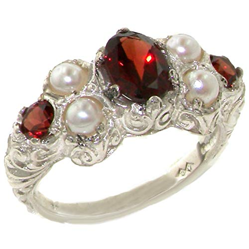 - 925 Sterling Silver Natural Garnet and Cultured Pearl Womens Cluster Ring - Sizes 4 to 12 Available