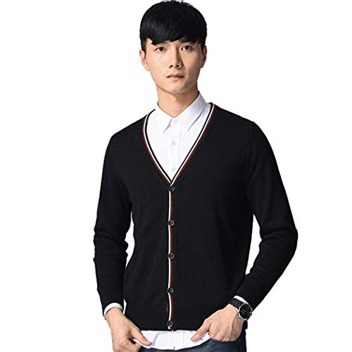- XWDA Men's Causal Fit V-Neck Cardigan Cashmere Wool Blend Button Long Sleeve Sweater