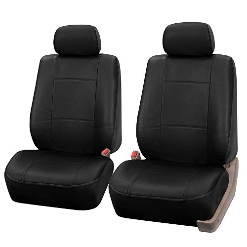 (FH GROUP FH-PU001102 Classic Synthetic Leather Pair Set Car Seat Covers, Solid Black- Fit Most Car, Truck, Suv, or)
