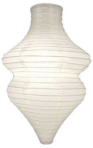 Cultural Intrigue Luna Bazaar Beehive Design Paper Lantern Lamp Shade (10.5-Inch x 15-Inch, White) - for Weddings, Parties, and Home Decor