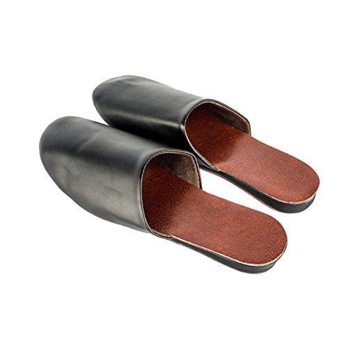 Haisum Tb002-m - Zapatillas de estar por casa de Piel Sintética para hombre negro