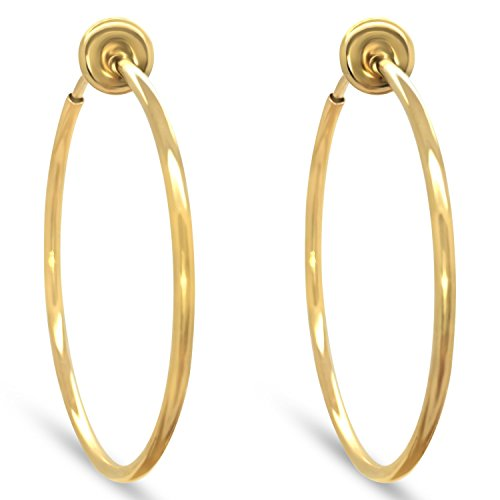 Aloha Earrings Gold Tone Plated Brass Spring Hoops Earrings Clip On, Hoops for Women, Unpierced (Gold Large)