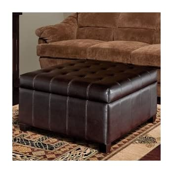 Amazon Com Isabella Bonded Leather Storage Ottoman