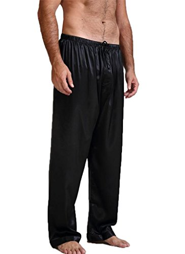 Mens Silk Satin Pajamas Pyjamas Pants Sleep Bottoms Black M