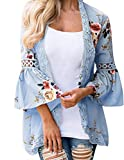Women Boho Bell Sleeve Hollow Out Lace Floral Print Short Cardigan Casual Fall Kimono Blue