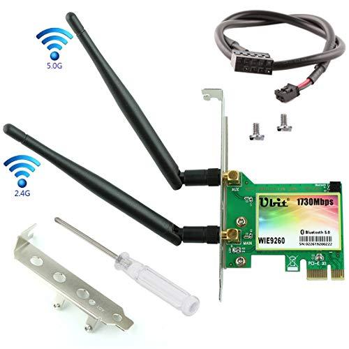 Ubit Gigabit WiFi Card | 802.11AC 1730Mbps Bluetooth 5.0 Card | 9260 PCIe Wireless WiFi PCIe Card | Dual-Band 5G/2.4G Wireless Network Card | 2U Baffle+6dBi Antenna | PCIe WiFi Network Card