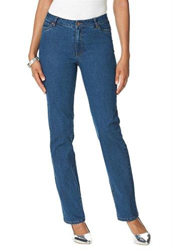 Denim 24/7 Women's Plus Size Invisible Stretch Straight Leg Jeans (Stonewash,22