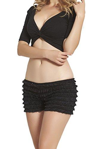 FOLOBE Womens dentelle leggings sexy multicouche volants culottes Sexy Pettipants booty shorts Noir