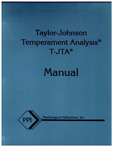 taylor johnson temperament analysis handbook for use with the 1984 rh amazon com T-JTA Assessment Purity Test