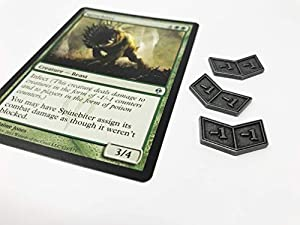 Set of 20 MTG Metal Buff Counters +1/+1 and -1/-1 by Citadel Black - With Velvet Drawstring Pouch, Antique Silver Finish Metal Tokens, Magic: The Gathering