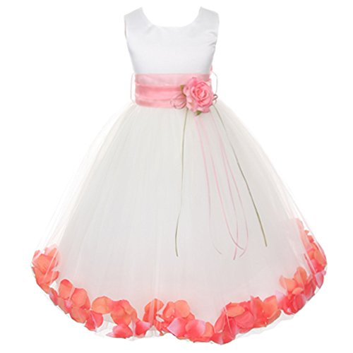 (Little Girls White Sleeveless Satin Bodice Floating Flower Petals Girl Dress with Matching Organza Sash and Double Tulle Skirt - Coral Set - Size 6)