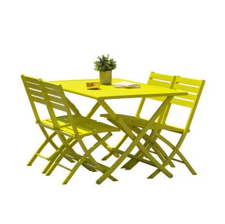 Kit Marius en aluminio: mesa plegable 140 x 80 cm + 4 sillas ...