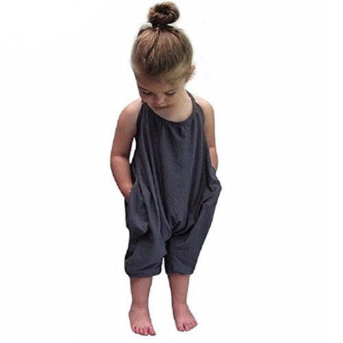 VICVIK Girls Summer Jumpsuits Kids Strap Romper Baby Clothes (Monogrammed Clothes For Kids)