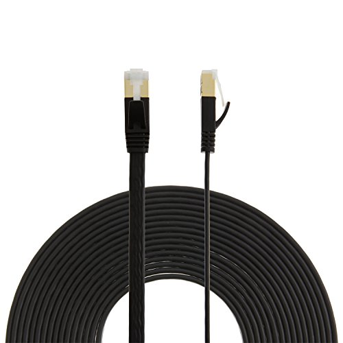 "CableCreation (2-PACK) Flat Lan Cable CAT7(Category 7) Shielded Ethernet Patch Cable, 50U""Gold Plated Contact,SSTP Network Cable Up to 10 Gigabit, Band Width:600MHZ ,3.3ft/1m, Black"