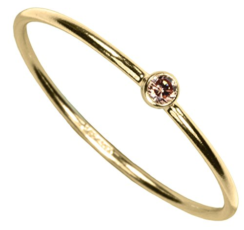 uGems 14kt Gold Filled Champagne CZ Stacking Ring Size 7