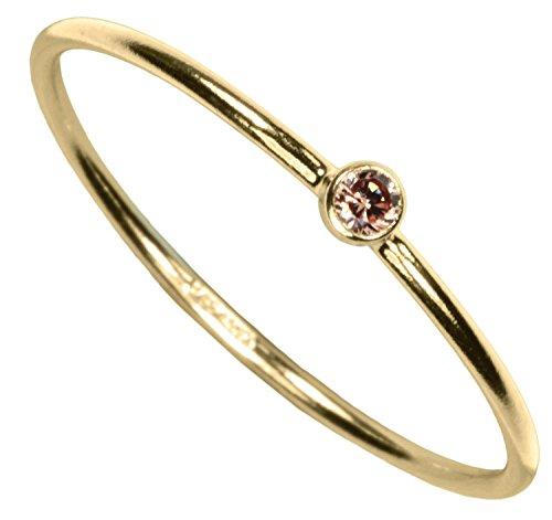 uGems 14kt Gold Filled Champagne CZ Stacking Ring Size 6