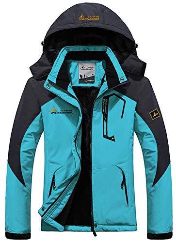 YXP Women's Mountain Waterproof Ski Jacket Windproof Rain Jacket(Acid Blue,XS)