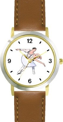 Ballerina and Ballet Dancer Couple No.1 - WATCHBUDDY DELUXE TWO-TONE THEME WATCH - Arabic Numbers - Brown Leather Strap-Women's Size-Small by WatchBuddy