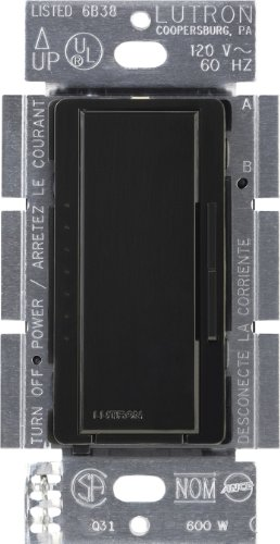 Lutron MA-1000-BL Maestro 600-watt Multi-Location/Single Pole Digital Fade Dimmer, Black ()