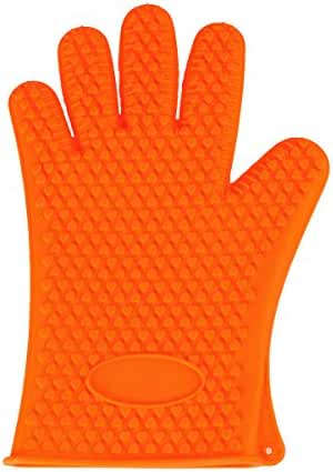 LQZ(TM) Microwave Oven Gloves Silicone Heat Resistant Gloves for Grilling, BBQs, Baking, Smoke Ovens,Unique Maple Leaf Design in Finest Orange Silicone. Extra Long to Cover Wrists (Orange)