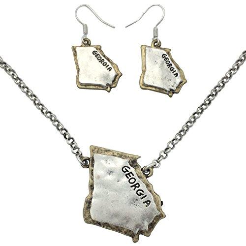 Georgia Bulldogs Hoop - Gypsy Jewels State Shape Map 2 Tone Necklace & Dangle Earrings Set (Georgia)