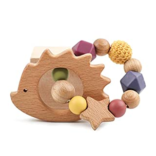let's make Wood Hedgehog Silicone Baby Teether Ring Coated with Safe Organic Olive Oil Wooden Rattles Sensory Toys Shower Gift