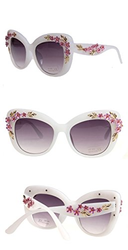 Chezi Women's Floral Stud Embellished Party Oversized Butterfly Sunglasses - Embellished Sunglasses