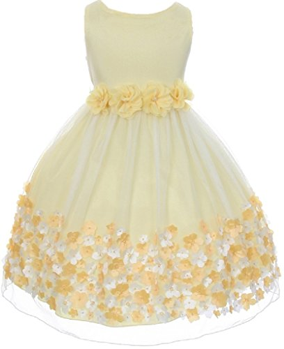 (Dreamer P Little Girls Sleeveless 3D Mesh Flower Special Occasion Easter Summer Flower Girl Dress Yellow)