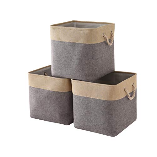 TheWarmHome Foldable Storage Basket with Strong Cotton Rope Handle, Collapsible Storage Bins Set Works As Baby Storage, Toy Storage, Nursery Baskets (Grey Patchwork, 3Pack-131313)
