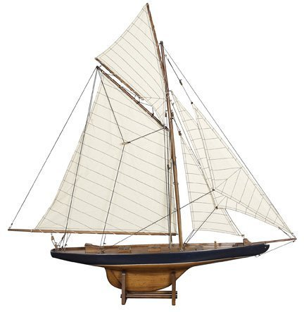America's Cup Columbia 1901 - Handcrafted Sailing Ship Model - Small - French Finish - Table Stand Included - Authentic Models AS108 by Authentic Models
