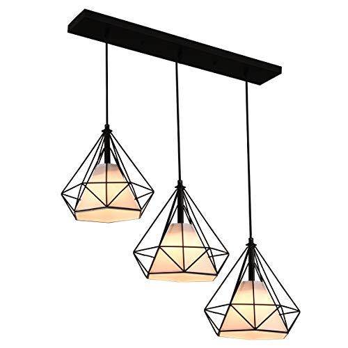 Industrial Pendant Lights 3-Light ,Rustic Adjustable Hanging Light Fixture ,Metal Farmhouse Pendant Lighting with Cover…