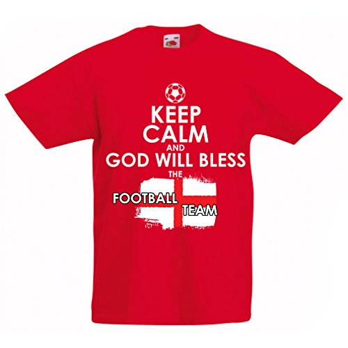 Kids Boys/Girls T-Shirt God Will Bless The Football Team of England, World Cup English Soccer Team Fan Jersey (14-15 Years Red Multi Color)